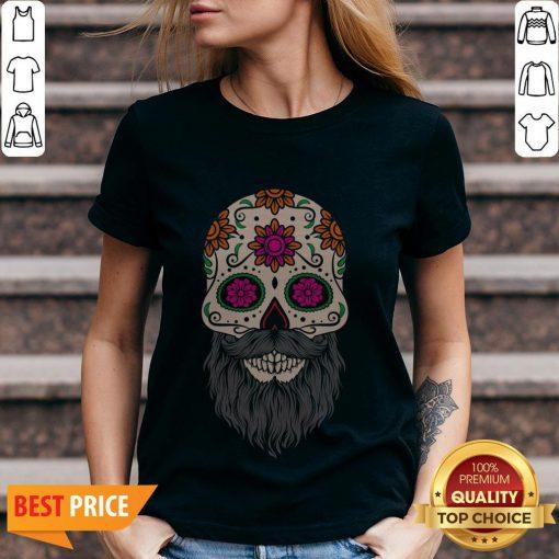 Sugar Skull Beard Racerback V-neck