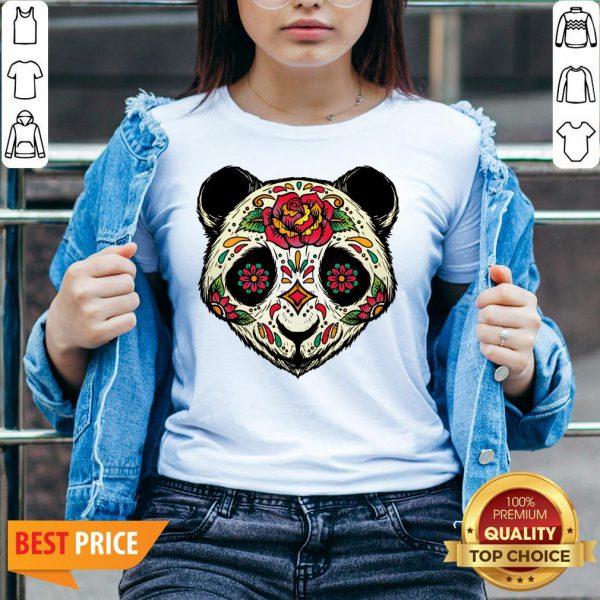 Sugar Skull Panda Dia De Muertos Day Of The Dead V-neck