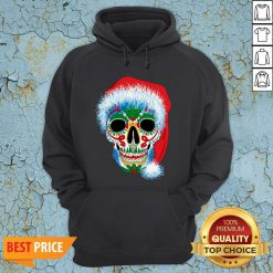Sugar Skull With Santa Hat Christmas Winter Holiday Day Of Dead Hoodie