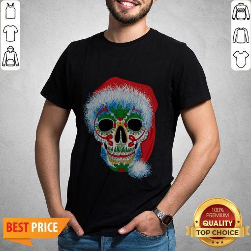 Sugar Skull With Santa Hat Christmas Winter Holiday Day Of Dead Shirt