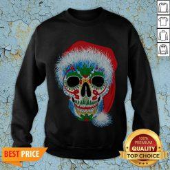 Sugar Skull With Santa Hat Christmas Winter Holiday Day Of Dead SweatSugar Skull With Santa Hat Christmas Winter Holiday Day Of Dead Sweatshirtshirt