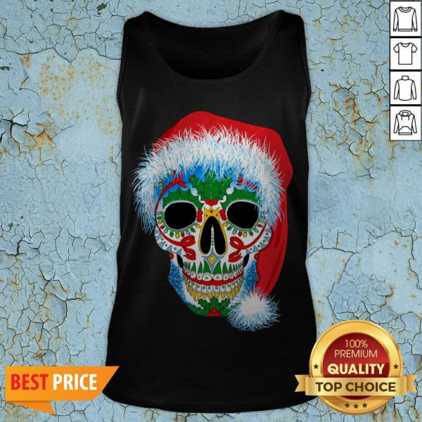 Sugar Skull With Santa Hat Christmas Winter Holiday Day Of Dead Tank Sugar Skull With Santa Hat Christmas Winter Holiday Day Of Dead Tank TopTop