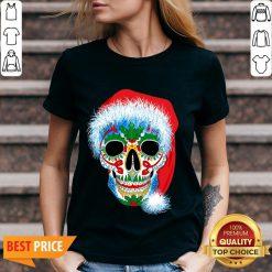 Sugar Skull With Santa Hat Christmas Winter Holiday Day Of Dead V-neck