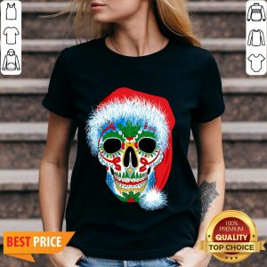 Sugar Skull With Santa Hat Christmas Winter Holiday Day Of Dead V-neck