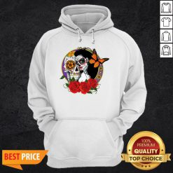 Sugar Skull Woman Wearing A Day Of The Dead Hoodie