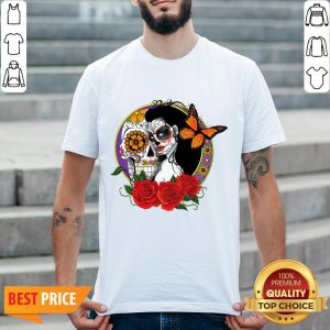 Sugar Skull Woman Wearing A Day Of The Dead Shirt