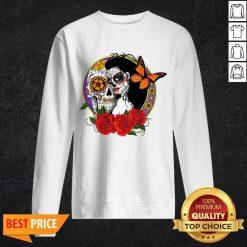 Sugar Skull Woman Wearing A Day Of The Dead Sweatshirt
