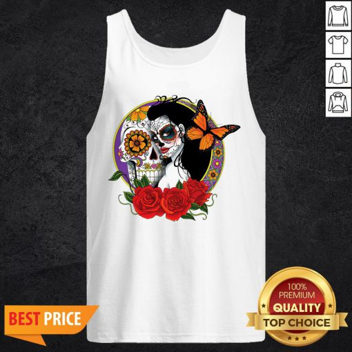 Sugar Skull Woman Wearing A Day Of The Dead Tank Top