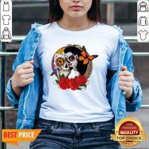 Sugar Skull Woman Wearing A Day Of The Dead V-neck