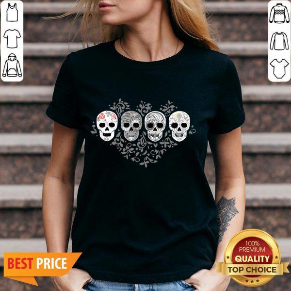 Sugar Skulls Skeletons Celebrate Day Of The Dead V-neck