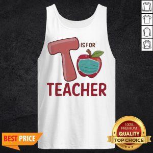 T Is For Teacher Apple Mask Tank Top