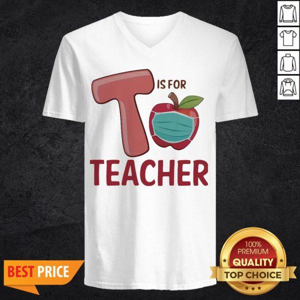 T Is For Teacher Apple Mask V-neck