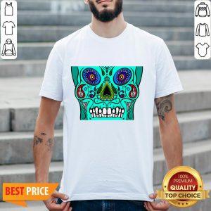 Teal Sugar Skull Black Day Of Dead Dia De Los Muertos ShirtTeal Sugar Skull Black Day Of Dead Dia De Los Muertos Shirt