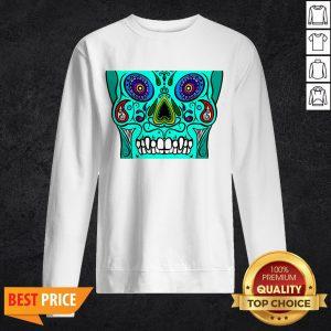Teal Sugar Skull Black Day Of Dead Dia De Los Muertos Sweatshirt