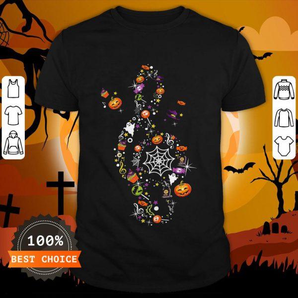 The Music Witch Pumpkin Ghost Spiderweb Halloween Shirt