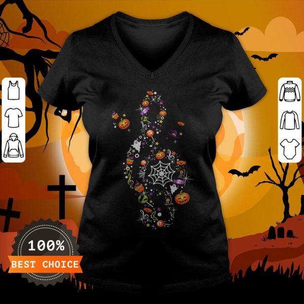 The Music Witch Pumpkin Ghost Spiderweb Halloween V-neck