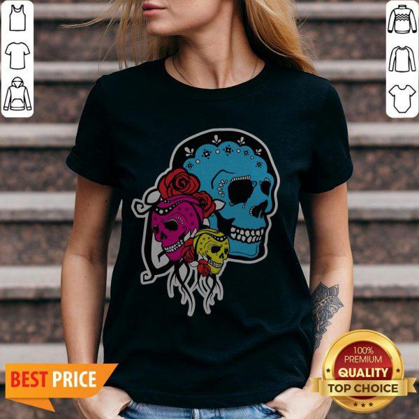 Thrice The Death Dia De Los Muertos Sugar Skull V-neck