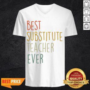 Top Best Substitute Teacher Ever Cool Vintage Christmas Gift V-neck