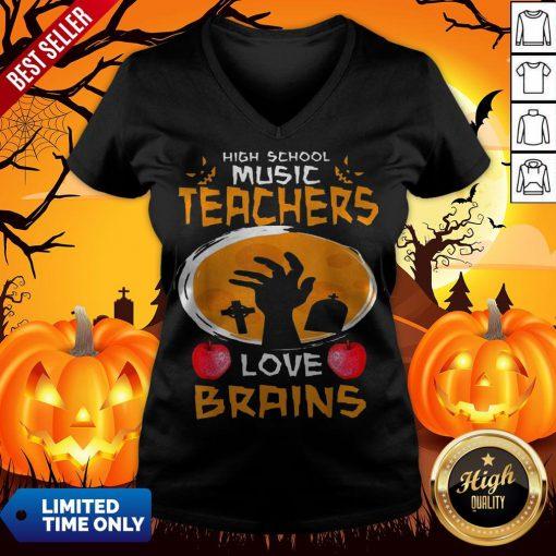 Top High School Music Teachers Love Brains Halloween Gift V-neck