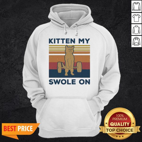 Weightlifting Cat Kitten My Swole On Vintage Retro HoodieWeightlifting Cat Kitten My Swole On Vintage Retro Hoodie