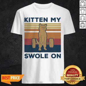 Weightlifting Cat Kitten My Swole On Vintage Retro Shirt