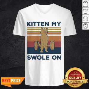 Weightlifting Cat Kitten My Swole On Vintage Retro V-neck
