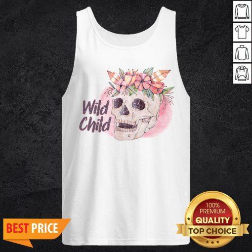 Wild Child Sugar Skull Hippie Hippy California Free Spirit Day Of Dead Tank Top