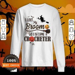 Witch I Los My Broom So I Became A Crocheter Pumpkin Halloween Sweatshirt
