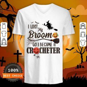 Witch I Los My Broom So I Became A Crocheter Pumpkin Halloween V-neck