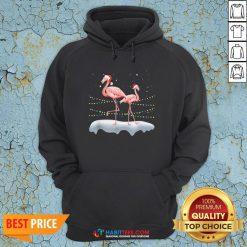 Flamingo Santa Hat Xmas Light Christmas Hoodie