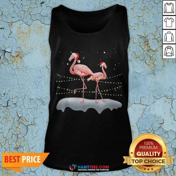 Flamingo Santa Hat Xmas Light Christmas Tank Top