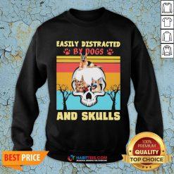 German Shepherd Easily Distracted By Dog And Skulls Vintage Sweatshirt