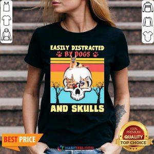 German Shepherd Easily Distracted By Dog And Skulls Vintage V-neck