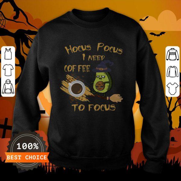 Hocus Pocus I Need Coffee To Focus Avocado Scary Face Halloween Sweatshirt
