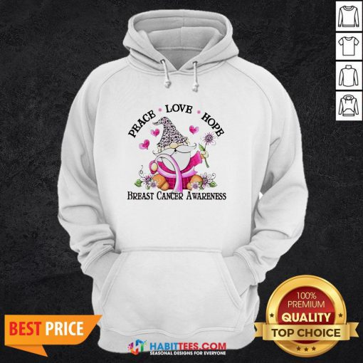 Gnome Peace Love Hope Breast Cancer Awareness Hoodie- Design by Habittees.com