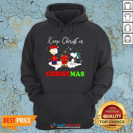 Peanuts Charlie Brown And Snoopy Keep Christ In Christmas Hoodie- Design by Habittees.com