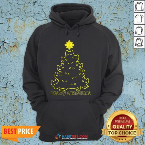 Funny Cat Meowy Christmas Tree Shirt- Design by Habittees.com