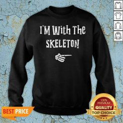 Official I'm With Skeleton Halloween Costume Funny Couples Matching Sweatshirt