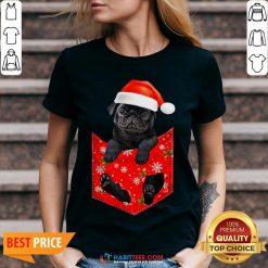 Premium Santa Pug Merry Christmas V-neck - Design By Habittees.com