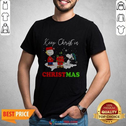 Peanuts Charlie Brown And Snoopy Keep Christ In Christmas Shirt- Design by Habittees.com