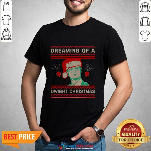 Dreaming Of A Dwight Ugly Christmas T-shirt- Design by Habittees.com
