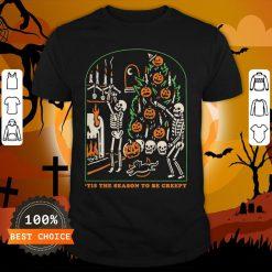 Skeleton Pumpkin Skull Tis The Season To Be Creepy Halloween Shirt