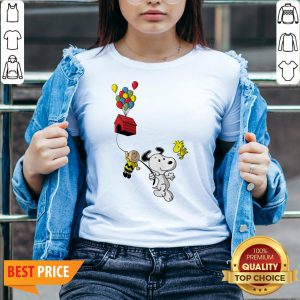 Snoopy And Charlie Brown Woodstock Balloon V-neck