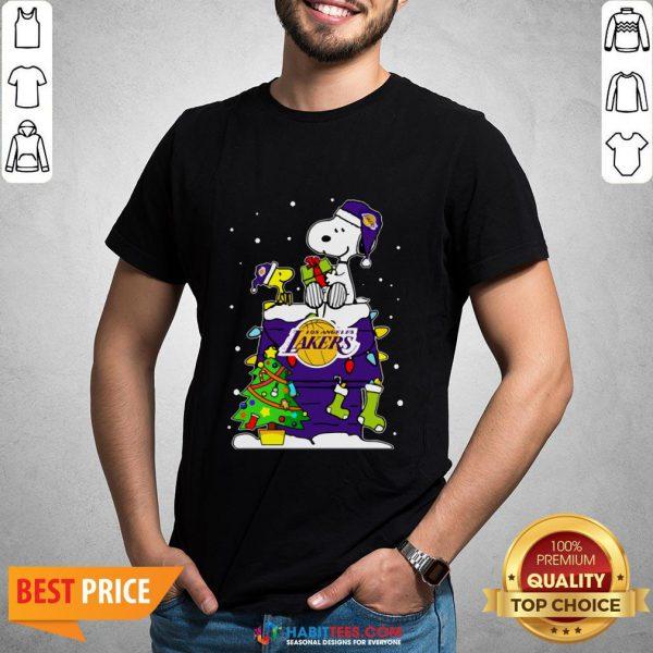 Snoopy Lakers Ugly Christmas Shirt