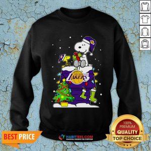 Snoopy Lakers Ugly Christmas Sweatshirt