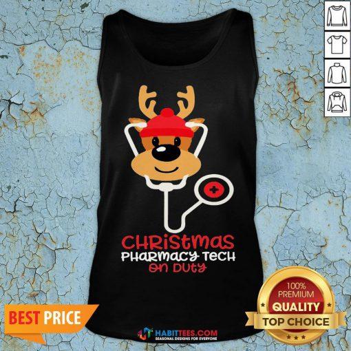 Super Christmas Pharmacy Tech On Duty Reindeer Nurse Tank Top - Design By Habittees.com