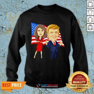 Official Donald Trump And Melania Trump Potus Flotus USA Flag SweatShirts - Design by Habittees.com