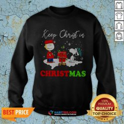Peanuts Charlie Brown And Snoopy Keep Christ In Christmas SweatShirt- Design by Habittees.com