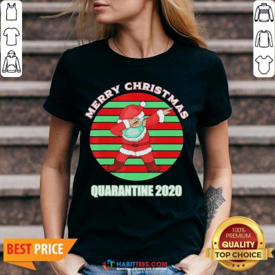Sweet Santa Claus Merry Christmas Quarantine 2020 Vintage V-neck - Design By Habittees.com