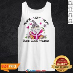 Gnome Peace Love Hope Breast Cancer Awareness Tank Top- Design by Habittees.com